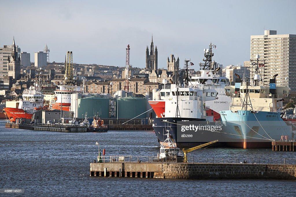 North Sea Supply Schiffe im Hafen von Aberdeen : Stock-Foto