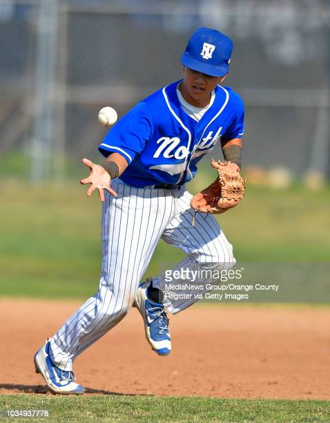 North second baseman Kyle Hatai bobbles a grounder allowing the batter to reach first base in the 6th inning in Torrance CA on Tuesday May 17 2016...