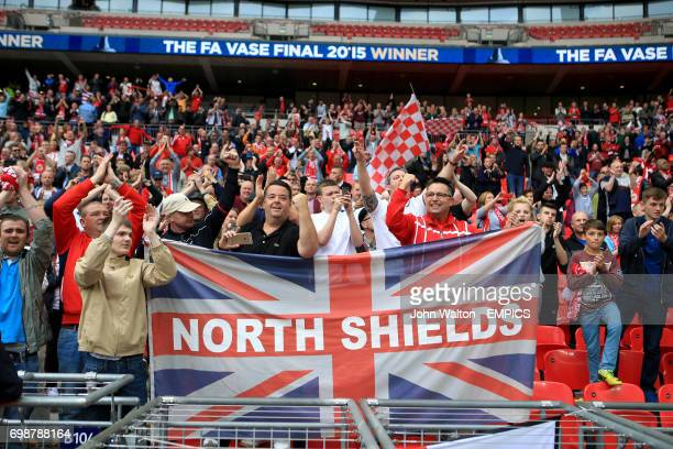 North Shields fans celebrate victory in the stands after the FA Vase final