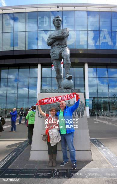 North Shields fans show their support outside Wembley Stadium before the game