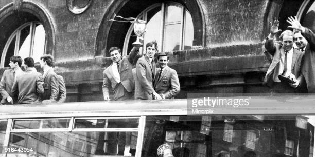 North Shields footballers victory parade after winning the FA Amateur Cupwhile on their way to a civic reception, 13th April 1969.
