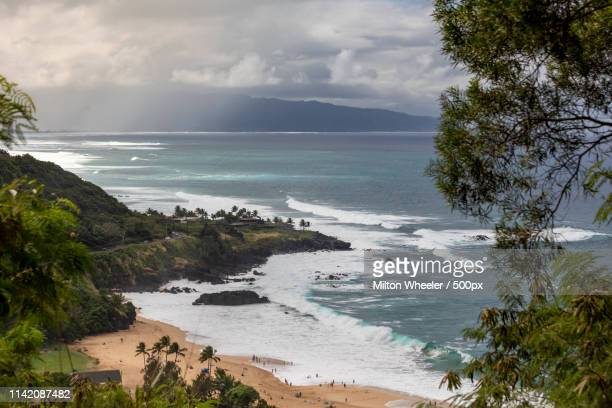 north shore day - waimea bay stock photos and pictures