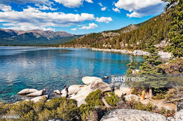 north shore lake tahoe nevada with visitors - lake tahoe stock photos and pictures
