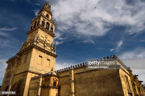 North side of Cordoba Mosque Cathedral with minaret now bell tower of Our Lady of the Assumption church
