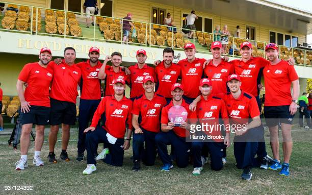 North team with the winners trophy at the end of the ECB North v South Series match Three at 3Ws Oval on March 23 2018 in Bridgetown Barbados