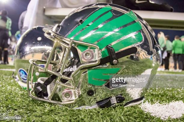 North Texas Mean Green helmet sits during the game between the North Texas Mean Green and the Florida Atlantic Owls on November 15 2018 at Apogee...