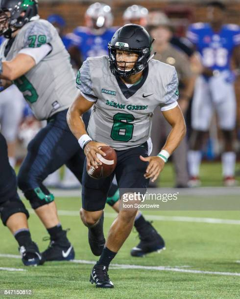 North Texas Mean Green quarterback Mason Fine runs the ball during the college football game between the SMU Mustangs and the North Texas Mean Green...