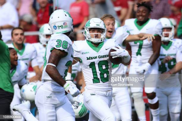 North Texas Mean Green wide receiver Keegan Brewer returns a punt for a touchdown on a fake fair catch during the North Texas Mean Green 4417 win...