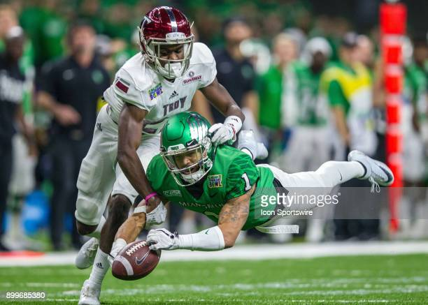 North Texas Mean Green wide receiver Turner Smiley dives for a passduring a game between the Troy Trojans and North Texas Mean Green at the...