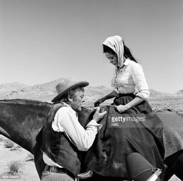 CHAPARRAL North To Tucson Episode 8 Pictured Linda Cristal as Victoria Montoya Cannon and Kevin McCarthy as James Forrest