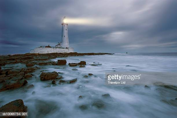 uk, north tyneside, tyne and wear, st mary's lighthouse, whitley bay - northeastern england stock photos and pictures