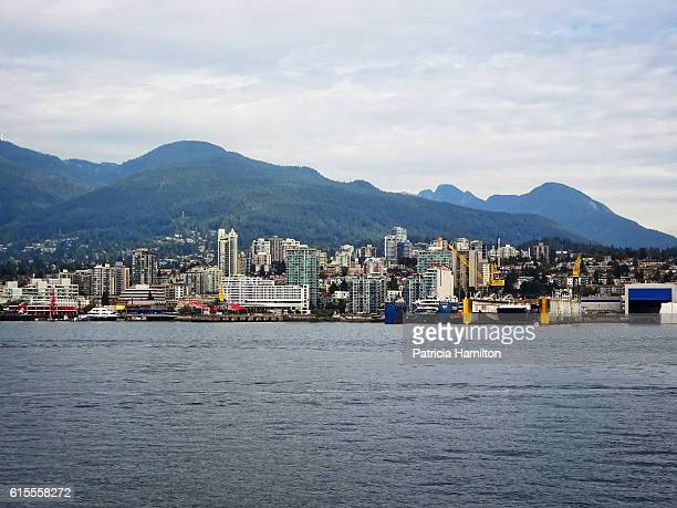 north vancouver cityscape - grouse mountain stock photos and pictures