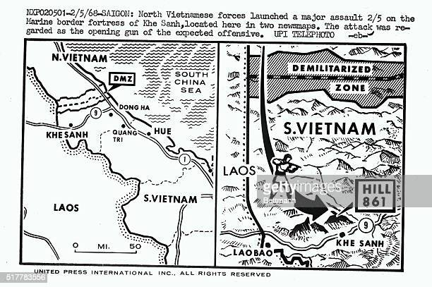 North Vietnamese forces launched a major assault on the Marine border fortress of Khe Sanh located here in two news maps The attack was regarded as...