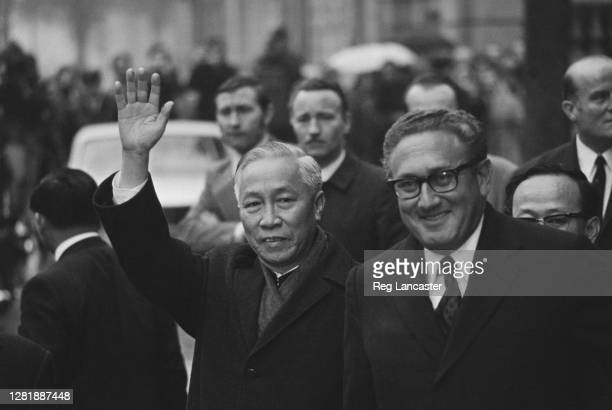 North Vietnamese leader Le Duc Tho and US National Security Advisor Henry Kissinger at the Paris Peace Accords in Paris, France during the Vietnam...