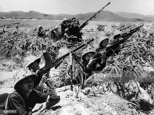 North Vietnamese militiamen in Quang Binh Province ready to fight against attacking American planes 1965