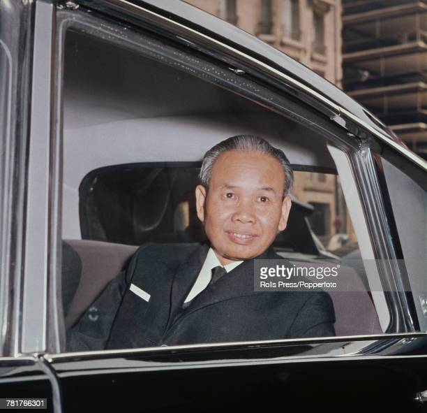 North Vietnamese politician Xuan Thuy North Vietnam's delegate at the Paris Peace talks pictured sitting in the back seat of a car as he attends...