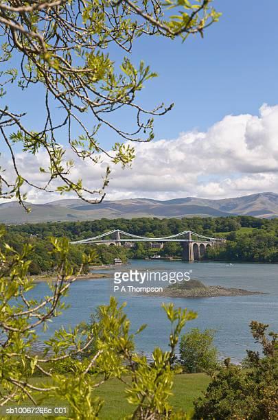 north wales, anglesey, menai straits, menai suspension bridge - menai bridge stock photos and pictures