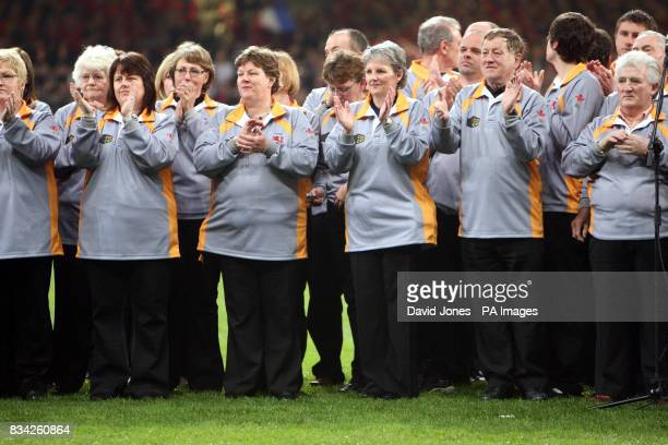 North Wales choir which won the competition sing the anthem before the RBS 6 Nations match at the Millennium Stadium Cardiff
