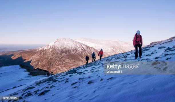 UK, North Wales, Snowdonia, Ogwen, Cneifion Rib, mountaineers