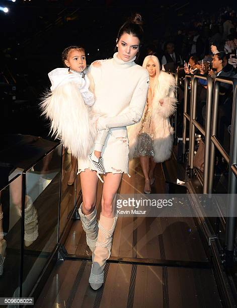 North West and Kendall Jenner attend Kanye West Yeezy Season 3 at Madison Square Garden on February 11 2016 in New York City