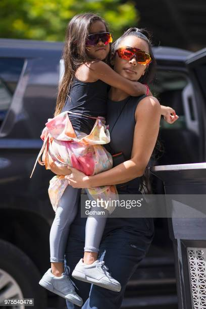 North West and Kim Kardashian are seen in the Meat Packing District on June 15 2018 in New York City
