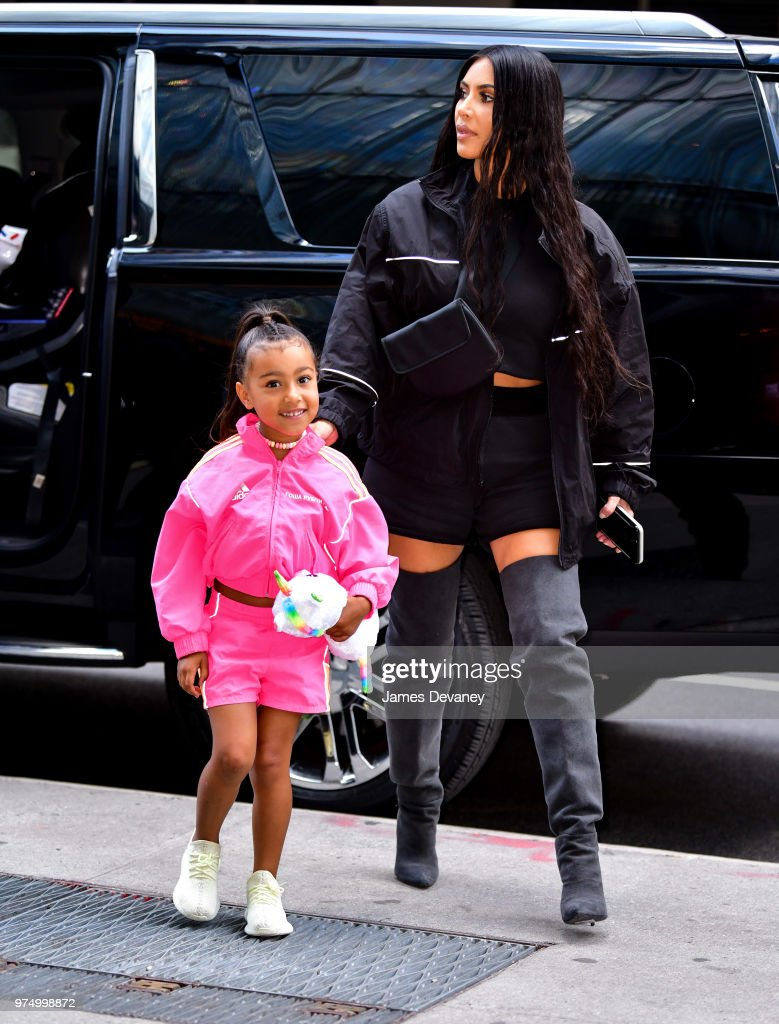 North West and Kim Kardashian seen on the streets of Manhattan on June 14, 2018 in New York City.