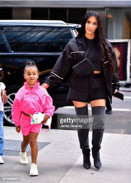 North West and Kim Kardashian seen on the streets of Manhattan on June 14 2018 in New York City