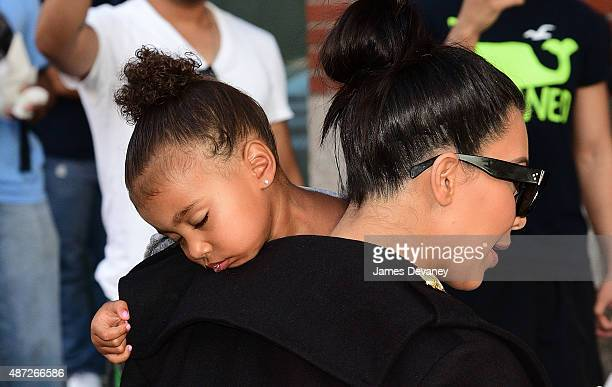 North West and Kim Kardashian seen on the streets of Manhattan on September 7 2015 in New York City