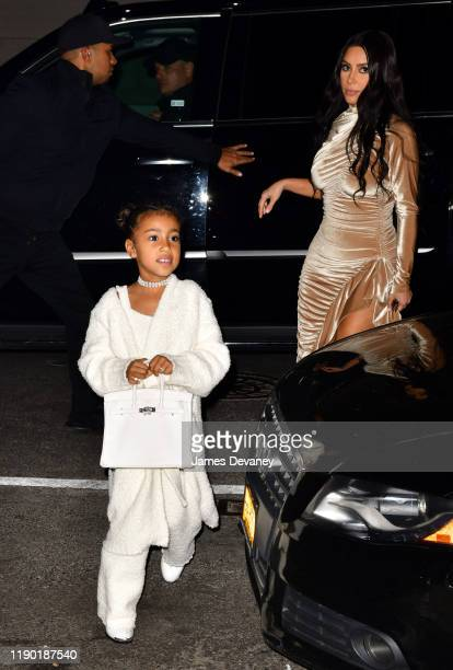 North West and Kim Kardashian West arrive to Negril Village on December 22 2019 in New York City