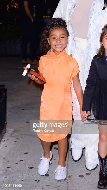North West and mother Kim Kardashian seen leaving a restaurant in SoHo on September 29 2018 in New York City