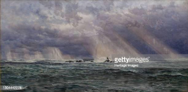 North West Gale off the Longships Lighthouse, 1873. Artist John Brett.