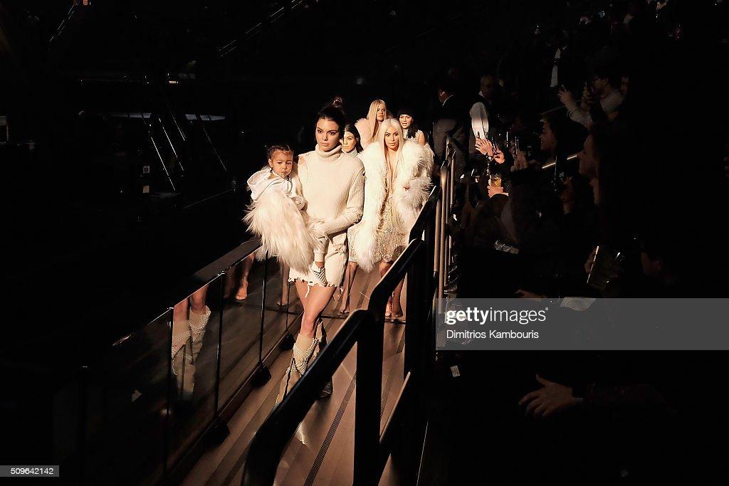 North West, Kendall Jenner, Kourtney Kardashian, Kim Kardashian, Khloe Kardashian and Kylie Jenner attend Kanye West Yeezy Season 3 on February 11, 2016 in New York City.