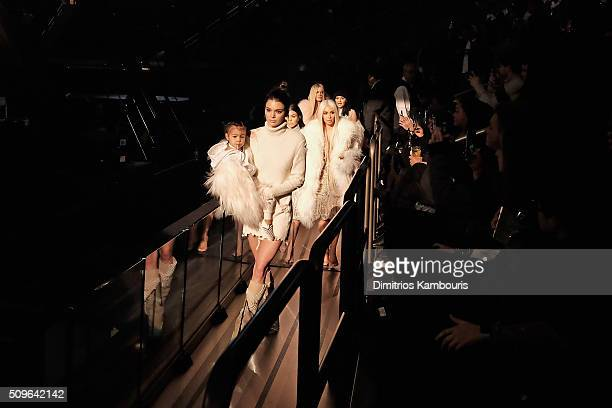 North West Kendall Jenner Kourtney Kardashian Kim Kardashian Khloe Kardashian and Kylie Jenner attend Kanye West Yeezy Season 3 on February 11 2016...