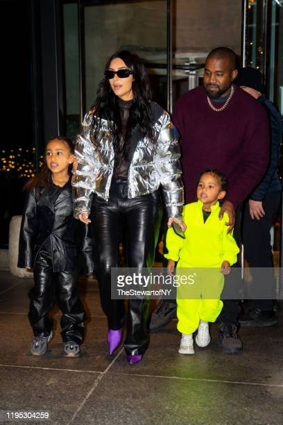 North West Kim Kardashian Kanye West and Saint West are seen in Midtown on December 21 2019 in New York City