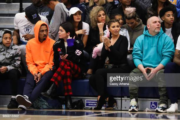 North West Kim Kardashian Taco Bennett Kendall Jenner and Larsa Younan watch courtside as Sierra Canyon plays Foothills Christian for the CIF Open...