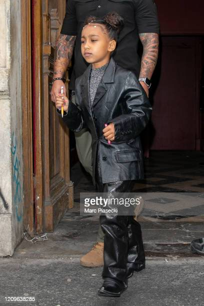 North West leaves KWest's Sunday Service At Theatre Des Bouffes Du Nord Paris Fashion Week Womenswear Fall/Winter 2020/2021on March 01 2020 in Paris...