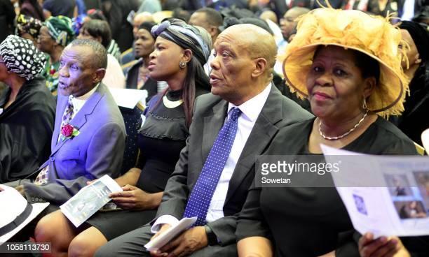 North West Premier Job Mokgoro, Ontlametse Motshwari with members of the Tsambo family during the funeral service of the late musician Jabulani 'HHP'...