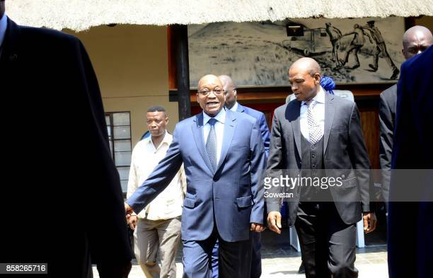 North West Premier Supra Mahumapelo and President Jacob Zuma during the unveiling of a monument dedicated to Zuma at the Groot Marico site on October...