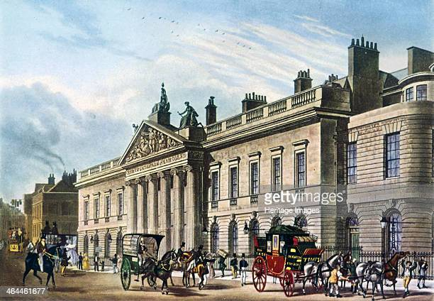 North west view of East India House London 1817 with figures horses and carriages