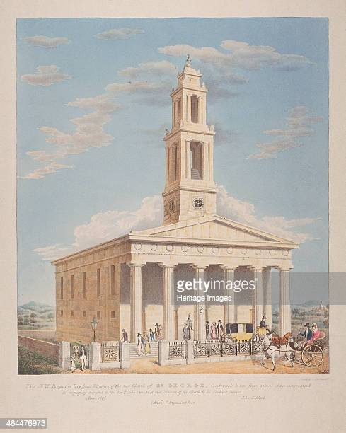 North west view of St George Camberwell with figures in the front Camberwell London 1827 Well dressed figures are leaving the church on foot and in...
