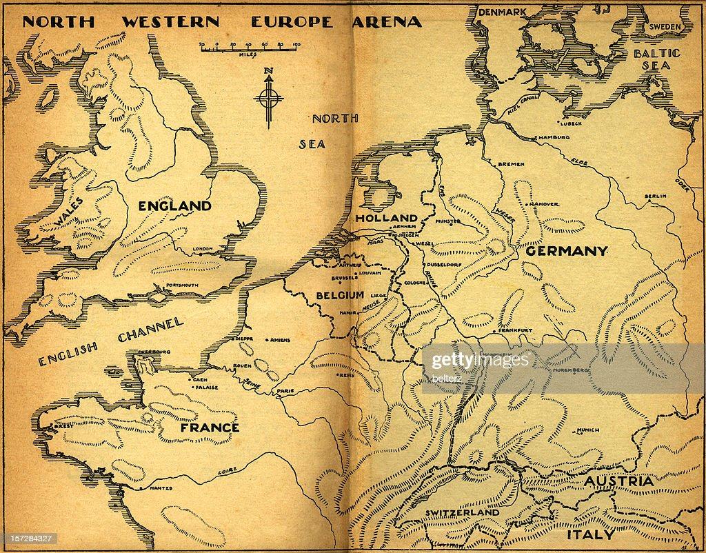 north-western europe vintage-Karte : Stock-Foto
