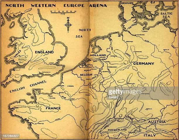 carte vintage du nord de l'europe de l'ouest - carte france photos et images de collection