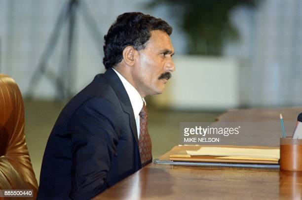 North Yemeni President Ali Abdullah Saleh attends the Arab Cooperation Council on February 24 1990 in Amman Jordan / AFP PHOTO / Mike NELSON