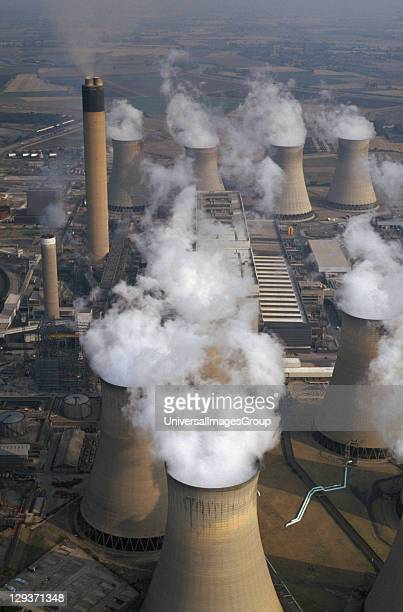ENGLAND North Yorkshire Drax Aerial view over cluster of Power Station chimneys releasing white smoke into the atmosphere
