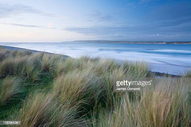 northam burrows country park at dusk with braunton burrows in the distance. devon. england. uk - estuary stock photos and pictures