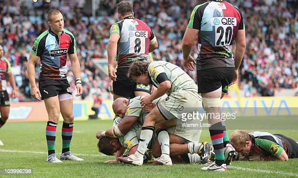 Northampton Captain Dylan Hartley dives over to score a try during the Aviva Premiership match between Harlequins and Northampton Saints at The Stoop...