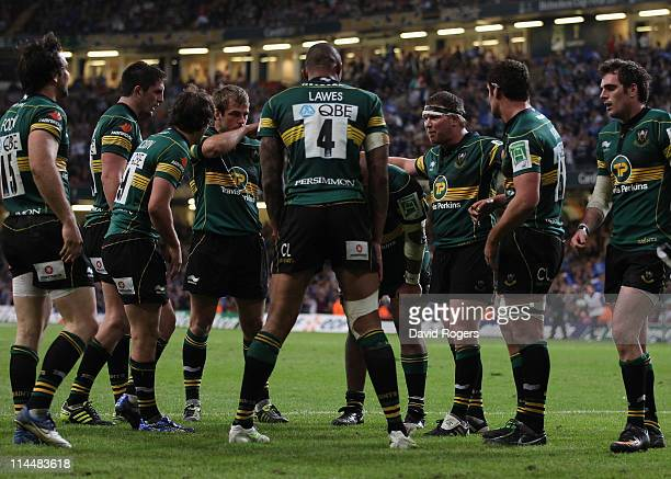 Northampton players stand dejected in the Heineken Cup Final match between Leinster and Northampton Saints at the Millennium Stadium on May 21, 2011...