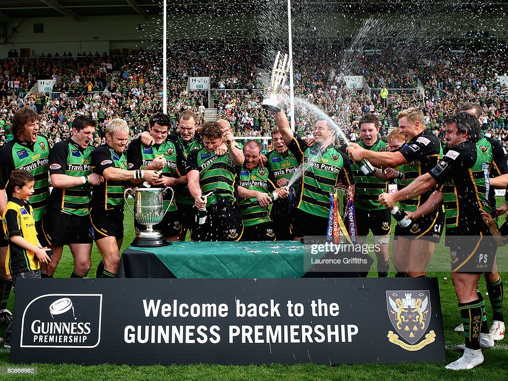Northampton Sains Led By Skipper Bruce Reihana Celebrate Promotion To The Guinness Premiership During National