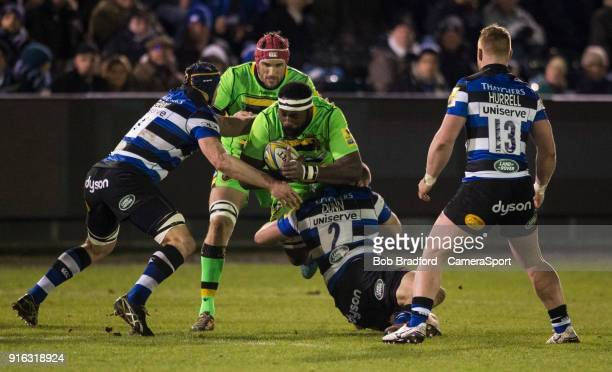 Northampton Saints' Api Ratuniyarawa is tackled by Bath Rugby's Tom Dunn during the Aviva Premiership match between Bath Rugby and Northampton Saints...