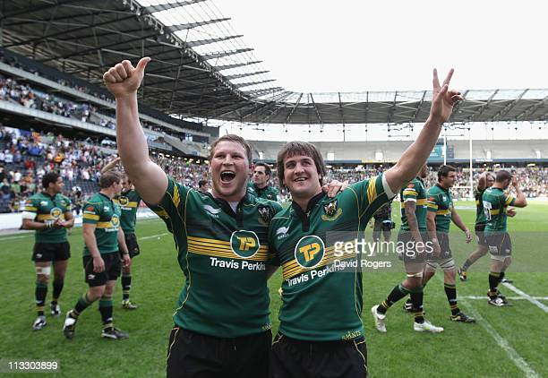 Northampton Saints captain Dylan Hartley and Lee Dickson celebrate after their teams victory during the Heineken Cup semi final match between...